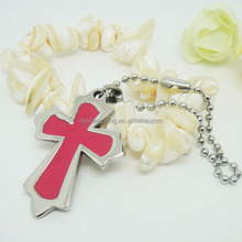 Fill in the oil Pink Color Stainless Steel Cross Pendant