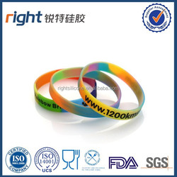 color printed gift promotional silicone bracelet