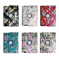 Flower pattern Leather case stand For iPad 4 3 2