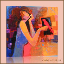 Handpainted hot sale modern abstract sexy girl canvas oil painting art of woman and red bird for home decoration