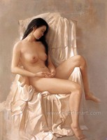hand painted naked beautiful Chinese girl nude oil painting