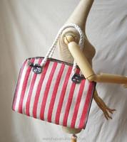 2015 New Model Bags Ladies Handmade Stripes Straw Women Handbag