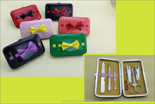 2015 New Arrival fashionable 6pcs nail care manicure set/bowknot case pedicure kit/nail beauty sharper kit for girls gift