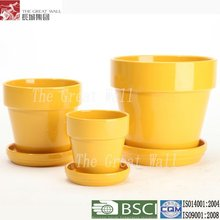7.5 inch wholesale yellow ceramic pot plant