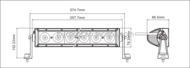 10-30v super bright, 6leds single row 12v waterproof 60w cree led light bar