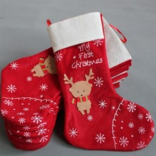 2015 new arrival!!! Red reindeer design christmas gifts stocking