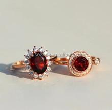 Rose red Garnet 925 sterling siver 18K gold plate Glitz anniversary love ring Super hot