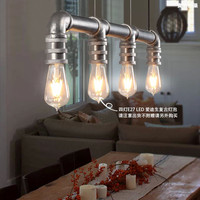Water pipe vintage pendant light with 4 heads for living room , dining room lighting
