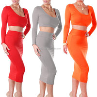 Sexy Women 2 Pieces Long Skirt Sets For Party Top With Skirt Set PW-FZ-19675