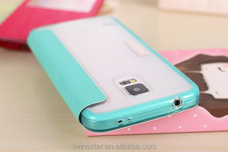 2014 New Transparent Plastic Back NX Stylish Flip Leather Case for Samsung Galaxy S5 i9600 Case with window