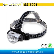 GS-6001 Waterproof cheap 8 led head torch directly from factory