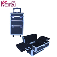 Customization Retractable Handle 4 tiers Beauty Professional Makeup Case With Wheels