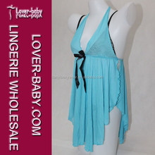 Preferably Coiled Wave Blue Sexy Babydoll Accepted Woman Custom Sleepwear Lingerie