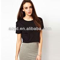 2013 Wholesale Black Polyester Ladies Crop Tee