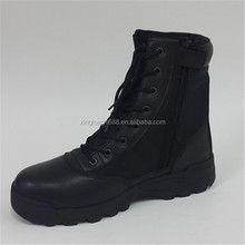 2015 best quality black military shoes have zipper for man