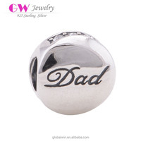 925 Silver Beads Alphabet Letter Dad Charms Fashion Jewellery Import Accessories X090C