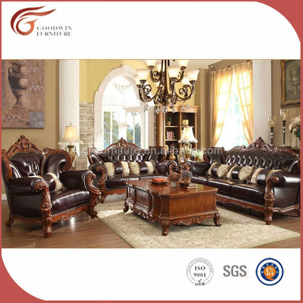 Wholesale 2014 Latest Antique Leather Wooden Sofa Set Designs A89