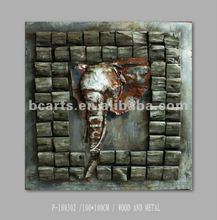 iron painting of elephant's nose abstract animal painting