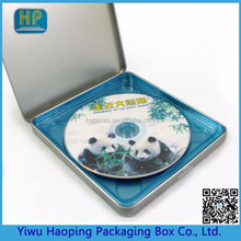 Custom fancy Tin DVD/CD Square Case with Hinged and blue tray Durable cd box