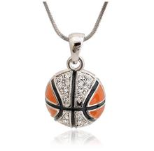 YiWu Wholesale Orange Crystal Basketball, Sports Style Pendant Necklace ,Necklace For Sports Fan