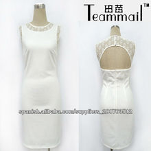 Blanco panel de encaje vestido ocasional