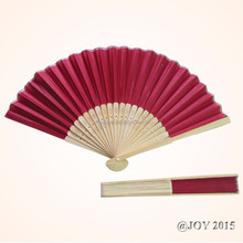 Foldable claret solid color Silk Hand Fan 21*37cm with 23pcs of bamboo ribs for party shop garden decoration wedding favor