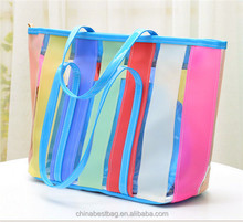 New Plastic Rainbow Transparent Contrast Candy Color Beach Bag Handbag Tote bag