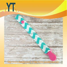 Chevron Soother Strap in Aqua and Pink, Gril Baby Shower Gift