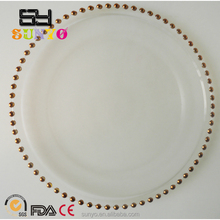 Golden beads Glass Charger Plates wedding table decorations