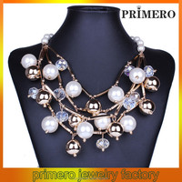 PRIMERO Fashion alloy necklace Hand-beaded multilayer imitation pearl necklace black and white bead necklace