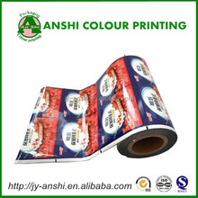 Milk yoghurt cup plastic lid packing roll film colored printed 4 pack rolls