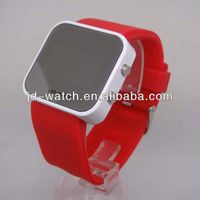 Fashion Silicone Led Digital watch men women square LED mirror wristwatch
