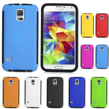 free shipping hybrid heavy shockproof case for Samsung S5 with clear touch screen