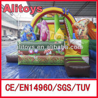 commercial animals party inflatable dry slide for kids