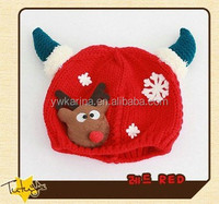 Hot Christmas Gift Cute Devil Horns Baby Winter Hats Beanies Newborn Knitted Hat And Cap