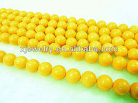 Professional custom and wholesale 6mm Sunflower yellow south sea shell pearl beads loose strands