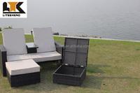 New Style Outdoor Furniture PE Black Rattan/Wicker Love Sun Lounger