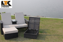 New Style Outdoor Furniture PE Black Rattan/Wicker Love Sun Lounger