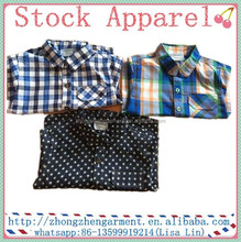 100% Cotton Long Sleeve Children Plaid Shirt In Stock Boy T shirt Top Wear