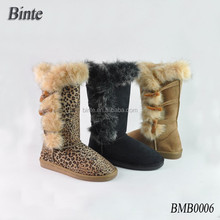 Laine cheville bottes pour femmes chaussures de sport fourrure et bouton bottes mode