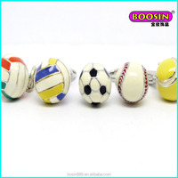 Hot sell alloy enamel jewelry metal sports ball charms custom made charms wholesale #12708