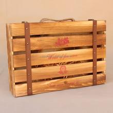 Custom hinged burn effect wooden wine case 6 bottle wooden case for wine