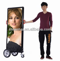 J2B-248 2014 Big discount!! human silver battery powered billboard publicity advertising for National Day promotion