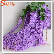 Wall hanging artificial flowers artificial plastic wisteria flower arrangements for wedding wall decoration