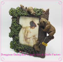 poly resin 4x6 personalized photo frames with bear figurine for thanksgiving day