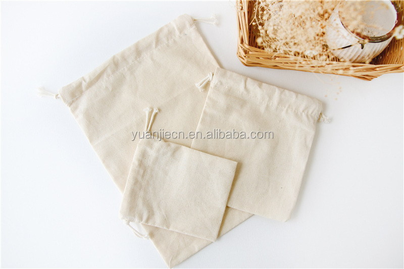 Yuanjie customized new style drawstring cotton gift bags for promotion,cotton tote bags wholesale