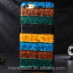 Colorful stripe genuine leather flip case for iphone 6, iphone 6 plus
