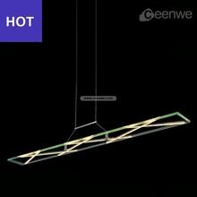 Rectangular pendant light with green yellow LED 25W Lights Pendant lighting iron glass chrome Finish