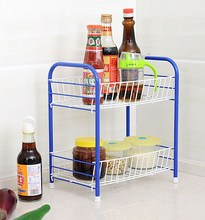 Weshine high quality two level floor type cruet storage shelf kitchen tools storage rack