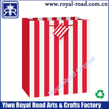 Red and white stripe paper shopping bag fashion paper gift bag